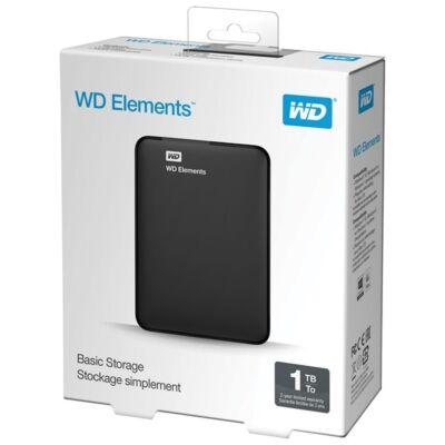 """WD Elements 2,5"""" 1TB USB3.0 külső merevlemez, fekete"""